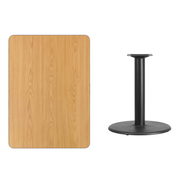 Lowest Price 30'' x 42'' Rectangular Natural Laminate Table Top with 24'' Round Table Height Base