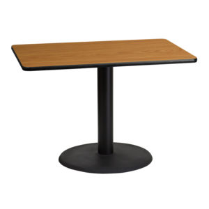 Wholesale 30'' x 42'' Rectangular Natural Laminate Table Top with 24'' Round Table Height Base
