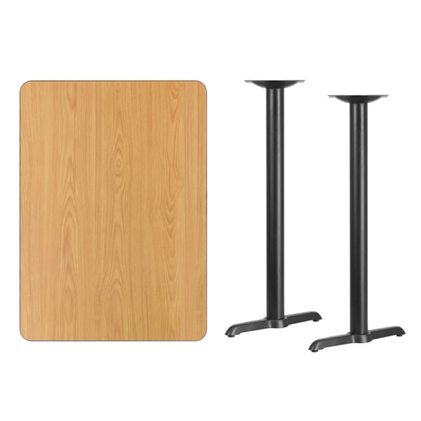Lowest Price 30'' x 42'' Rectangular Natural Laminate Table Top with 5'' x 22'' Bar Height Table Bases