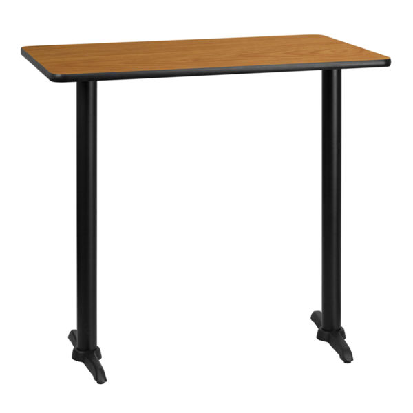 Wholesale 30'' x 42'' Rectangular Natural Laminate Table Top with 5'' x 22'' Bar Height Table Bases