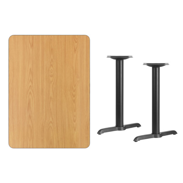 Lowest Price 30'' x 42'' Rectangular Natural Laminate Table Top with 5'' x 22'' Table Height Bases