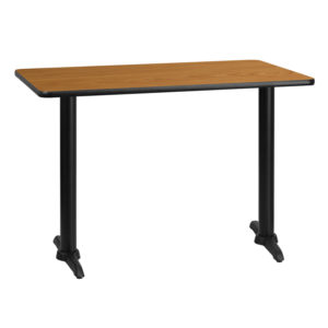 Wholesale 30'' x 42'' Rectangular Natural Laminate Table Top with 5'' x 22'' Table Height Bases