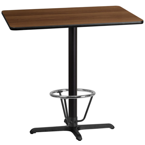 Wholesale 30'' x 42'' Rectangular Walnut Laminate Table Top with 22'' x 30'' Bar Height Table Base and Foot Ring