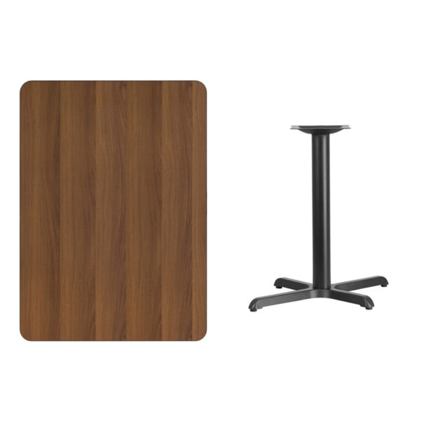 Lowest Price 30'' x 42'' Rectangular Walnut Laminate Table Top with 22'' x 30'' Table Height Base