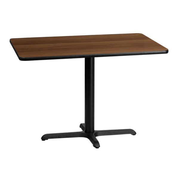 Wholesale 30'' x 42'' Rectangular Walnut Laminate Table Top with 22'' x 30'' Table Height Base