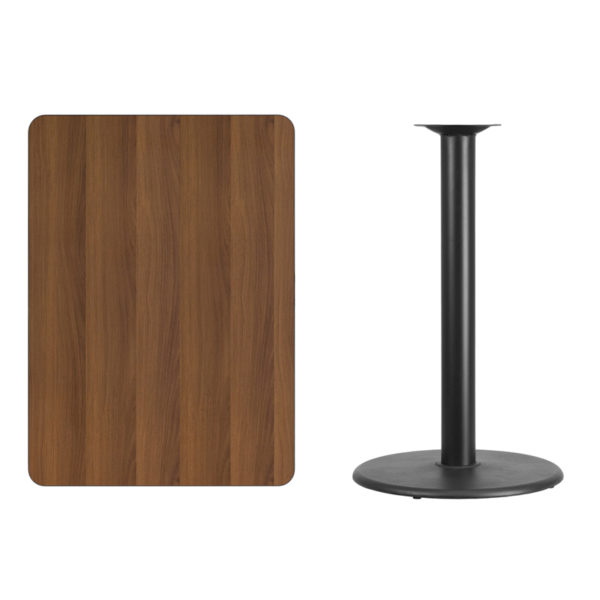 Lowest Price 30'' x 42'' Rectangular Walnut Laminate Table Top with 24'' Round Bar Height Table Base
