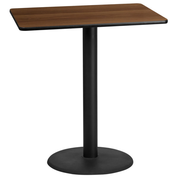 Wholesale 30'' x 42'' Rectangular Walnut Laminate Table Top with 24'' Round Bar Height Table Base