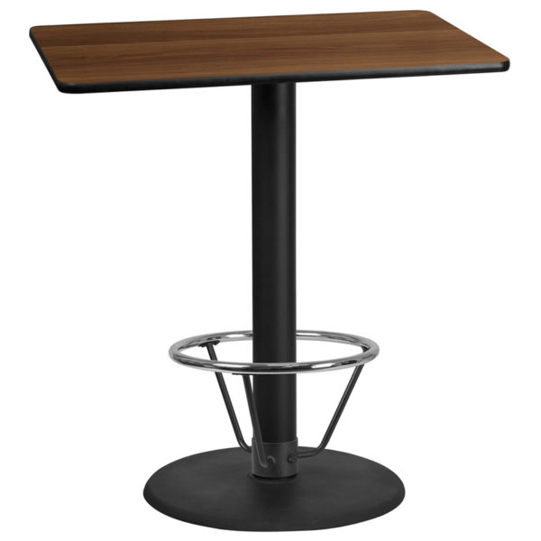 Wholesale 30'' x 42'' Rectangular Walnut Laminate Table Top with 24'' Round Bar Height Table Base and Foot Ring