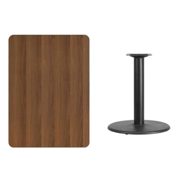Lowest Price 30'' x 42'' Rectangular Walnut Laminate Table Top with 24'' Round Table Height Base