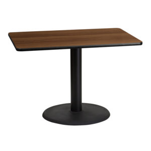 Wholesale 30'' x 42'' Rectangular Walnut Laminate Table Top with 24'' Round Table Height Base
