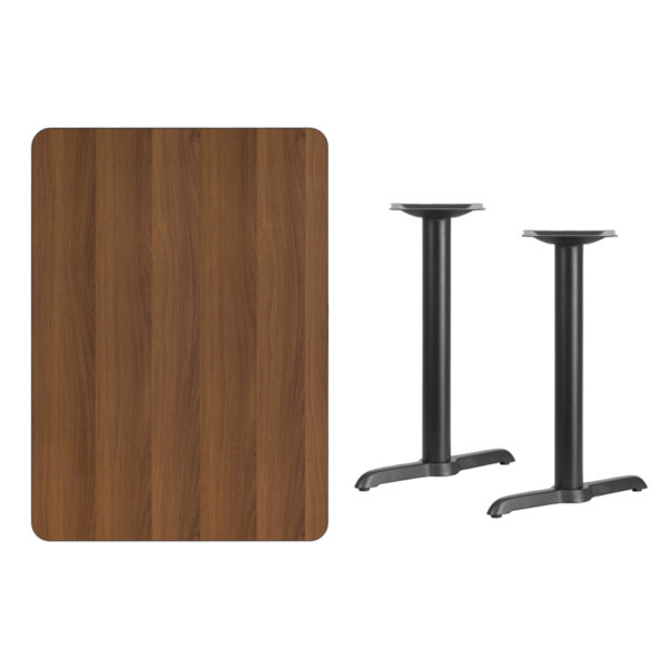 Lowest Price 30'' x 42'' Rectangular Walnut Laminate Table Top with 5'' x 22'' Table Height Bases