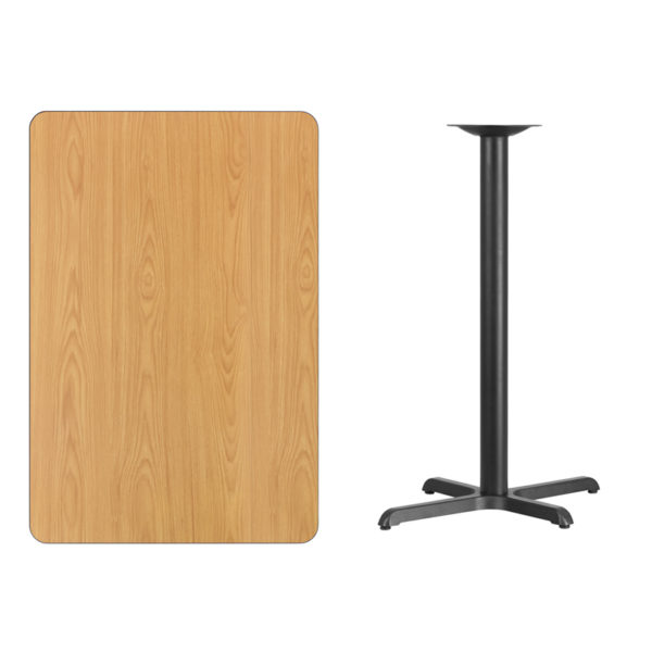 Lowest Price 30'' x 45'' Rectangular Natural Laminate Table Top with 22'' x 30'' Bar Height Table Base