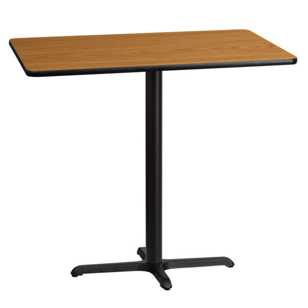Wholesale 30'' x 45'' Rectangular Natural Laminate Table Top with 22'' x 30'' Bar Height Table Base