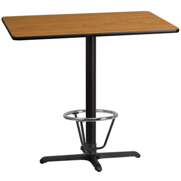 Wholesale 30'' x 45'' Rectangular Natural Laminate Table Top with 22'' x 30'' Bar Height Table Base and Foot Ring