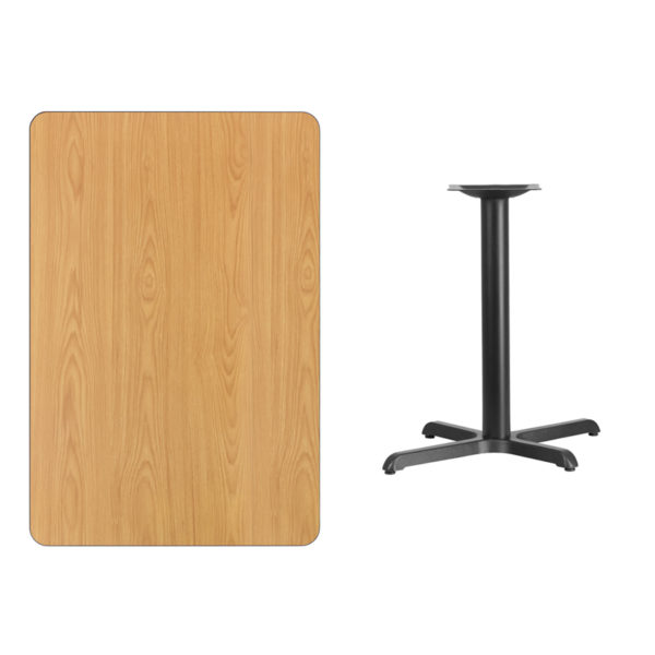 Lowest Price 30'' x 45'' Rectangular Natural Laminate Table Top with 22'' x 30'' Table Height Base
