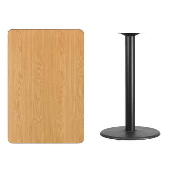 Lowest Price 30'' x 45'' Rectangular Natural Laminate Table Top with 24'' Round Bar Height Table Base