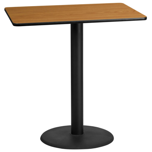 Wholesale 30'' x 45'' Rectangular Natural Laminate Table Top with 24'' Round Bar Height Table Base