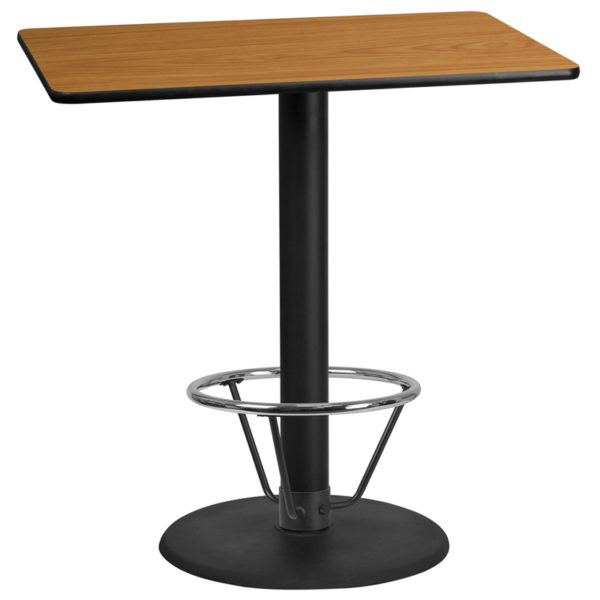 Wholesale 30'' x 45'' Rectangular Natural Laminate Table Top with 24'' Round Bar Height Table Base and Foot Ring
