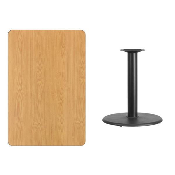 Lowest Price 30'' x 45'' Rectangular Natural Laminate Table Top with 24'' Round Table Height Base
