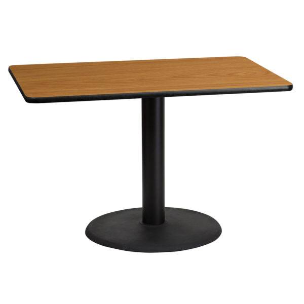 Wholesale 30'' x 45'' Rectangular Natural Laminate Table Top with 24'' Round Table Height Base