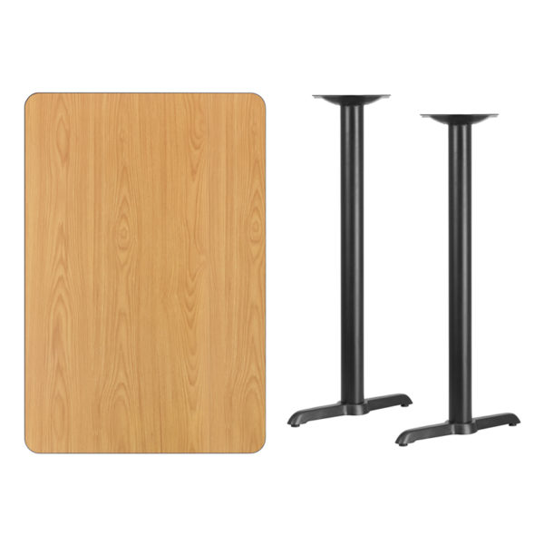 Lowest Price 30'' x 45'' Rectangular Natural Laminate Table Top with 5'' x 22'' Bar Height Table Bases