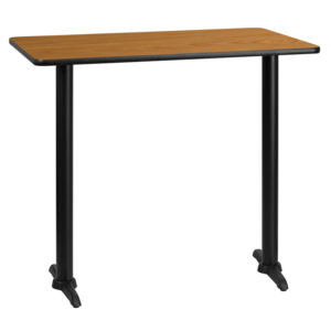 Wholesale 30'' x 45'' Rectangular Natural Laminate Table Top with 5'' x 22'' Bar Height Table Bases