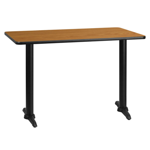 Wholesale 30'' x 45'' Rectangular Natural Laminate Table Top with 5'' x 22'' Table Height Bases