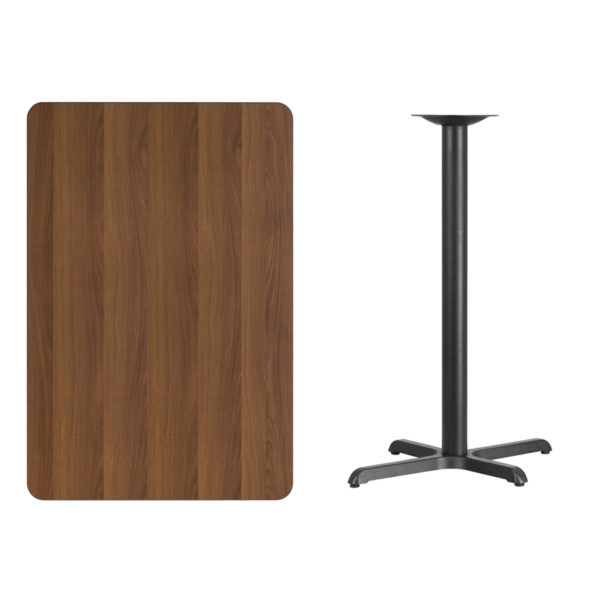 Lowest Price 30'' x 45'' Rectangular Walnut Laminate Table Top with 22'' x 30'' Bar Height Table Base