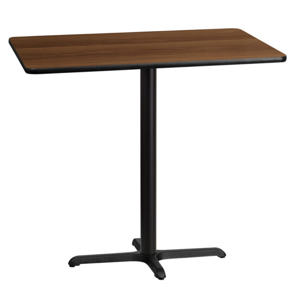 Wholesale 30'' x 45'' Rectangular Walnut Laminate Table Top with 22'' x 30'' Bar Height Table Base