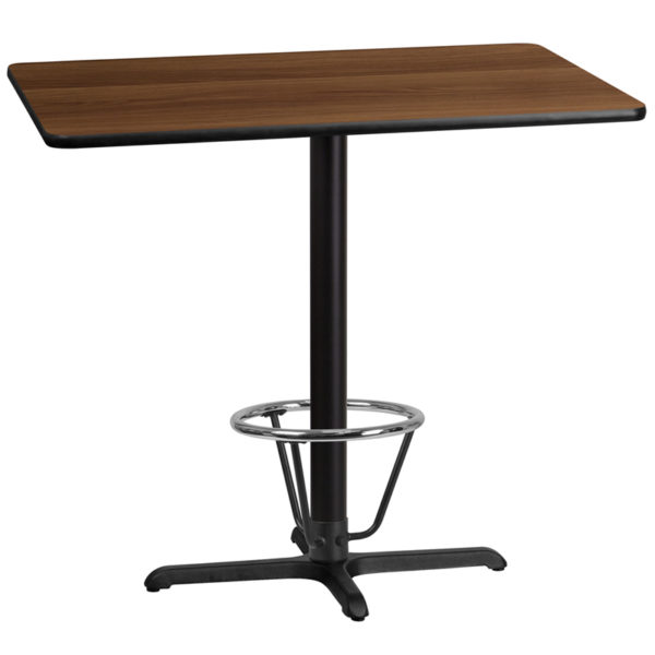 Wholesale 30'' x 45'' Rectangular Walnut Laminate Table Top with 22'' x 30'' Bar Height Table Base and Foot Ring