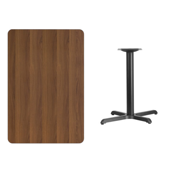 Lowest Price 30'' x 45'' Rectangular Walnut Laminate Table Top with 22'' x 30'' Table Height Base