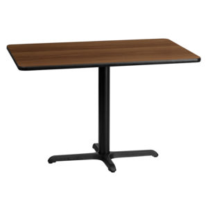 Wholesale 30'' x 45'' Rectangular Walnut Laminate Table Top with 22'' x 30'' Table Height Base