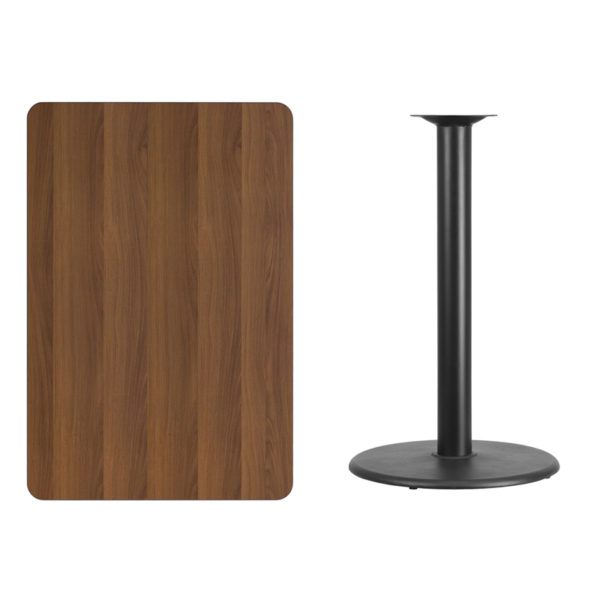 Lowest Price 30'' x 45'' Rectangular Walnut Laminate Table Top with 24'' Round Bar Height Table Base