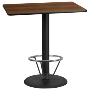 Wholesale 30'' x 45'' Rectangular Walnut Laminate Table Top with 24'' Round Bar Height Table Base and Foot Ring