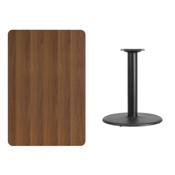 Lowest Price 30'' x 45'' Rectangular Walnut Laminate Table Top with 24'' Round Table Height Base