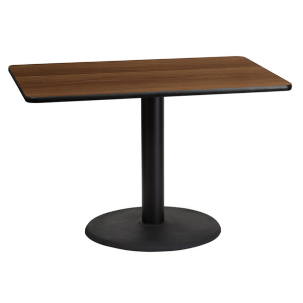 Wholesale 30'' x 45'' Rectangular Walnut Laminate Table Top with 24'' Round Table Height Base
