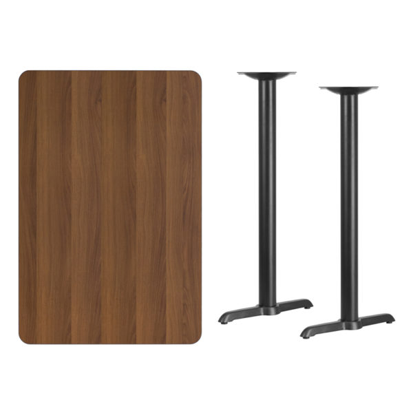 Lowest Price 30'' x 45'' Rectangular Walnut Laminate Table Top with 5'' x 22'' Bar Height Table Bases