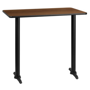 Wholesale 30'' x 45'' Rectangular Walnut Laminate Table Top with 5'' x 22'' Bar Height Table Bases