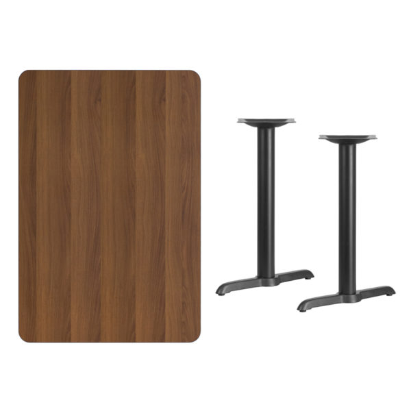 Lowest Price 30'' x 45'' Rectangular Walnut Laminate Table Top with 5'' x 22'' Table Height Bases