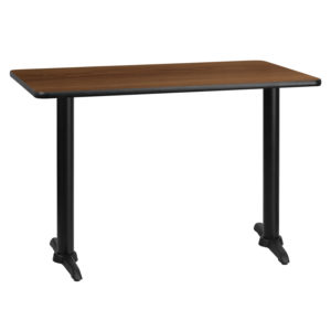 Wholesale 30'' x 45'' Rectangular Walnut Laminate Table Top with 5'' x 22'' Table Height Bases