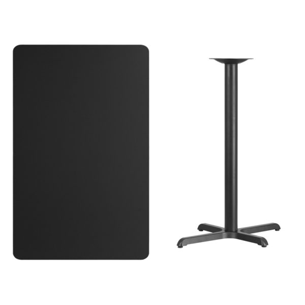 Lowest Price 30'' x 48'' Rectangular Black Laminate Table Top with 22'' x 30'' Bar Height Table Base