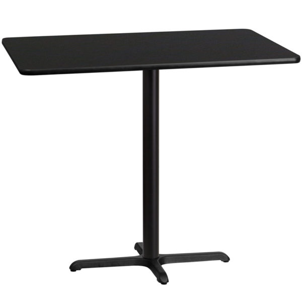 Wholesale 30'' x 48'' Rectangular Black Laminate Table Top with 22'' x 30'' Bar Height Table Base