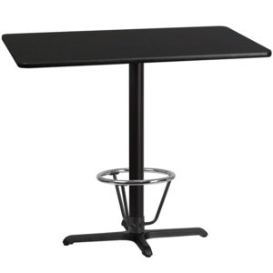 Wholesale 30'' x 48'' Rectangular Black Laminate Table Top with 22'' x 30'' Bar Height Table Base and Foot Ring