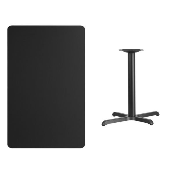 Lowest Price 30'' x 48'' Rectangular Black Laminate Table Top with 22'' x 30'' Table Height Base