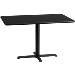 Wholesale 30'' x 48'' Rectangular Black Laminate Table Top with 22'' x 30'' Table Height Base