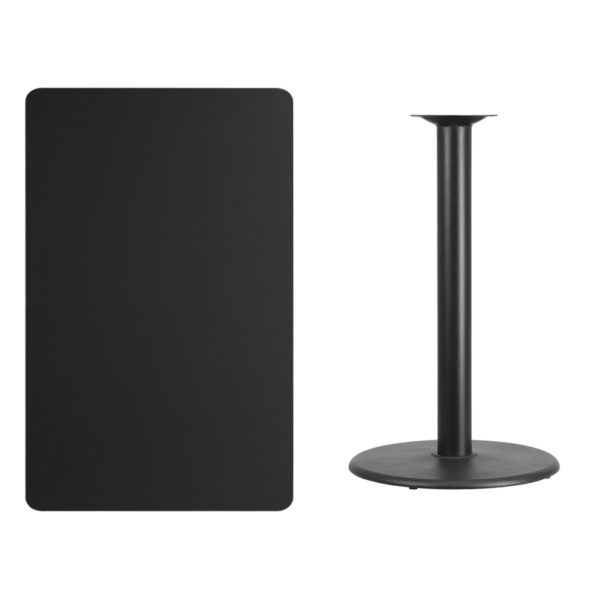 Lowest Price 30'' x 48'' Rectangular Black Laminate Table Top with 24'' Round Bar Height Table Base
