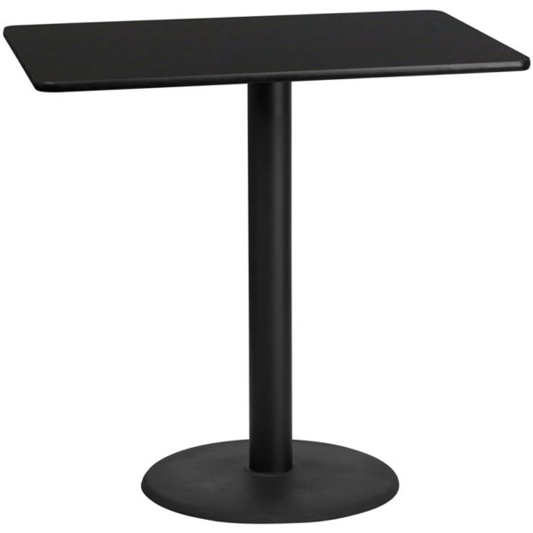 Wholesale 30'' x 48'' Rectangular Black Laminate Table Top with 24'' Round Bar Height Table Base