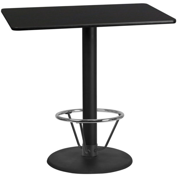 Wholesale 30'' x 48'' Rectangular Black Laminate Table Top with 24'' Round Bar Height Table Base and Foot Ring