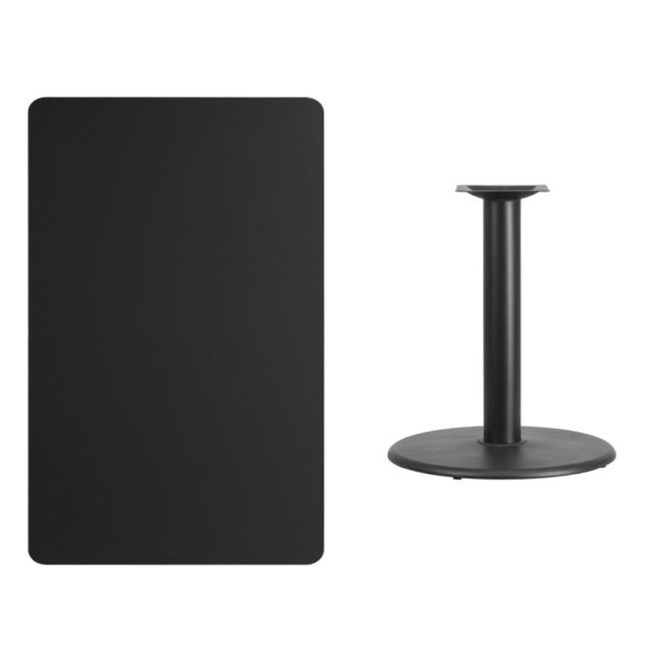 Lowest Price 30'' x 48'' Rectangular Black Laminate Table Top with 24'' Round Table Height Base