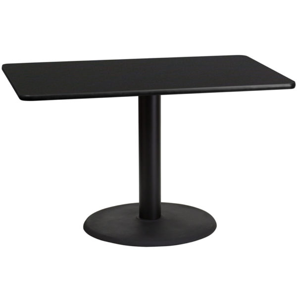 Wholesale 30'' x 48'' Rectangular Black Laminate Table Top with 24'' Round Table Height Base
